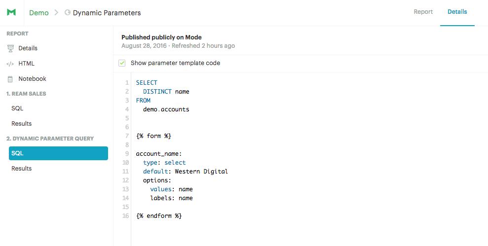 Dynamic Parameter Query Details