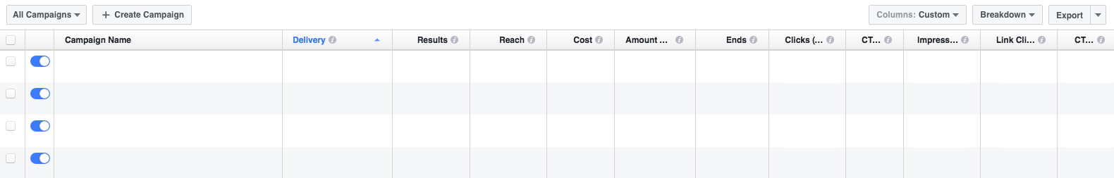 Facebook Ads Manager UI