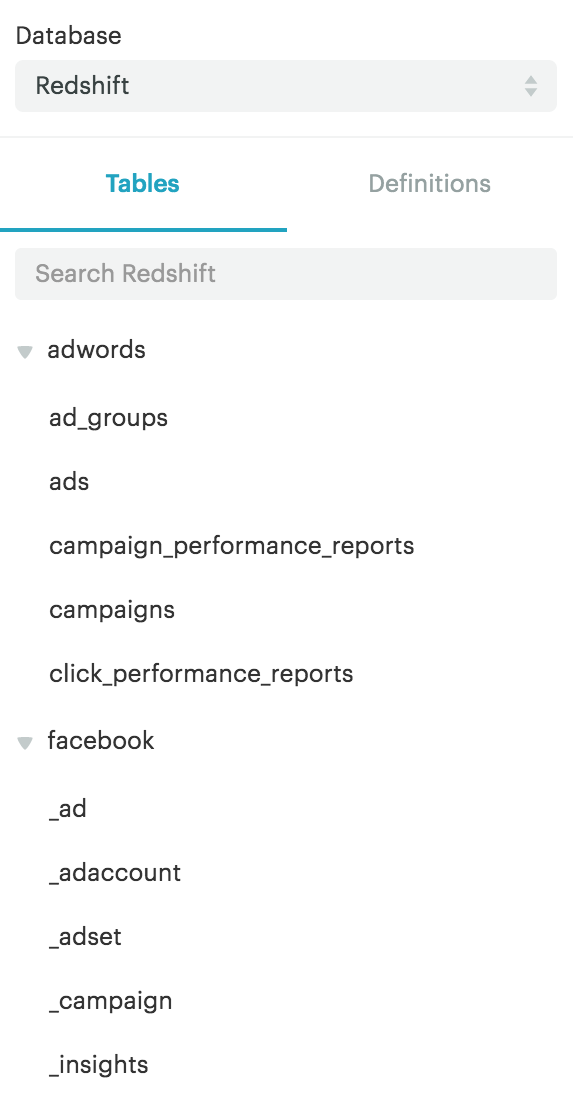 Adwords and Facebook Ads schema