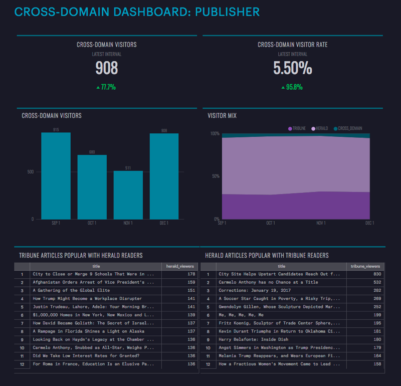 Segment publisher cross-domain dashboard
